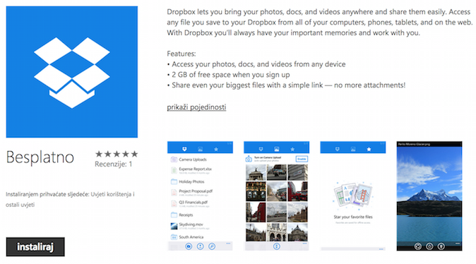 Dropbox za Windows Phone